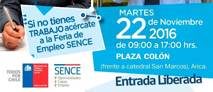 Martes 22 de noviembre: Feria laboral Sence en Arica
